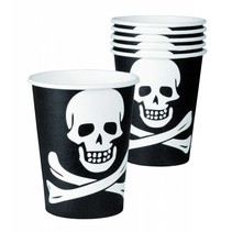 Piraten Bekers Doodshoofd 250ml 6 stuks (E9-5-5)