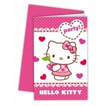 Hello Kitty Uitnodigingen 6 stuks (E7-7-5)