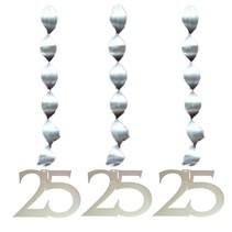 Hangdecoratie 25 Zilver 25cm 3 stuks (D8-5-1)