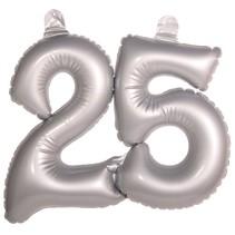 Opblaascijfer 25 Zilver (D8-5-4)