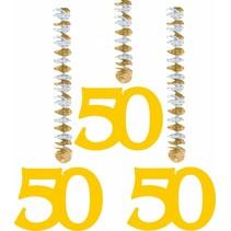 Hangdecoratie 50 Goud 25cm 3 stuks (C7-2-7)