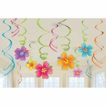 Hawaii Hangdecoratie Bloemen Set 12 delig (A13-7-1)
