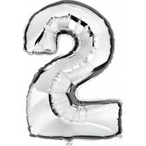 Folie Ballon Cijfer 2 Zilver 100cm leeg of gevuld
