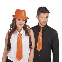 Glitter Stropdas Oranje (K4-1-2)