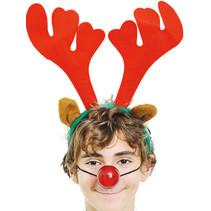 Kerst Haarband Rendier met lichtgevende neus