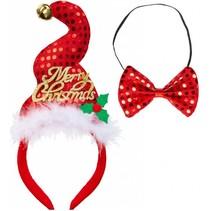 Kerst Haarband Glitter en Strikje