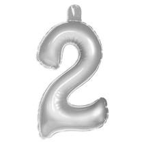 Opblaascijfer 2 Zilver 35cm