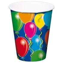 Verjaardagsbekers 250ml 8 stuks (H9-3-2)