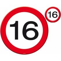 Placemats en Onderzetters 16 Jaar Verkeersbord 4 stuks (D11-6-3)