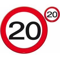 Placemats en Onderzetters 20 Jaar Verkeersbord 4 stuks (D9-5-2)