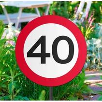 Tuinbord 40 Jaar Verkeersbord 52cm