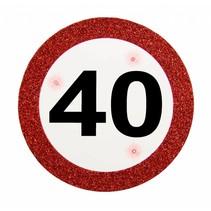 Badge 40 Jaar Verkeersbord met verlichting 12cm (D5-2-5)