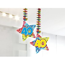 Hangdecoratie 40 Jaar 75cm 2 stuks