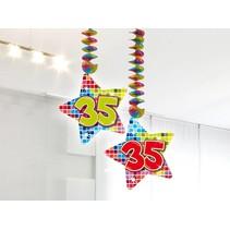 Hangdecoratie 35 Jaar 75cm 2 stuks