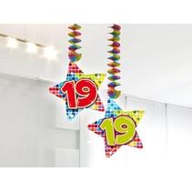 Hangdecoratie 19 Jaar 75cm 2 stuks