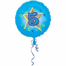 Helium Ballon 5 Jaar Blauw 43cm leeg (D15-2-4)
