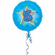 Helium Ballon 5 Jaar Blauw 43cm leeg