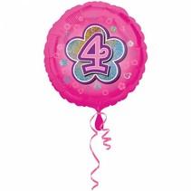 Helium Ballon 4 Jaar Roze 43cm leeg (D16-5-5)