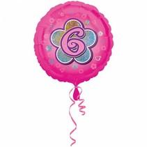 Helium Ballon 6 Jaar Roze 43cm leeg