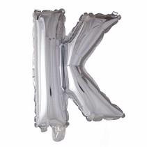 Folie Ballon Letter K Zilver XL 86cm leeg