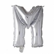 Folie Ballon Letter M Zilver XL 86cm leeg