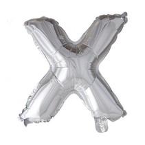 Folie Ballon Letter X Zilver XL 86cm leeg
