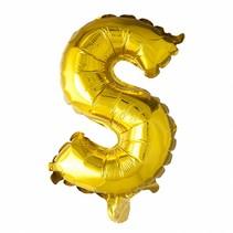 Folie Ballon Letter S Goud XL 86cm leeg