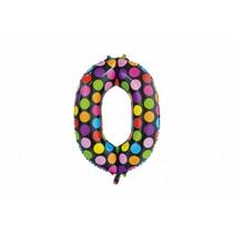 Folie Ballon Cijfer 0 Stippen XL 86cm leeg (D18-2-4)