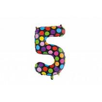 Folie Ballon Cijfer 5 Stippen XL 86cm leeg