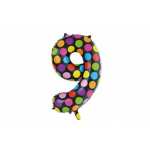 Folie Ballon Cijfer 9 Stippen XL 86cm leeg (D13-4-3)