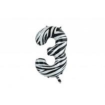 Folie Ballon Cijfer 3 Zebra XL 86cm leeg (D16-1-3)