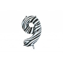 Folie Ballon Cijfer 9 Zebra XL 86cm leeg (D13-4-4)