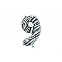 Folie Ballon Cijfer 9 Zebra XL 86cm leeg