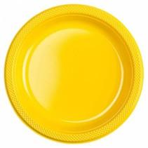 Gele Borden Plastic 23cm 10 stuks (J17-5-3)