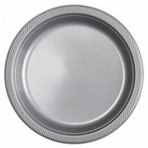 Zilveren Borden Plastic 23cm 10 stuks