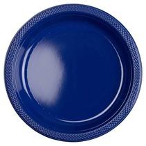 Donkerblauwe Borden Plastic 23cm 10 stuks (J12-3-3)