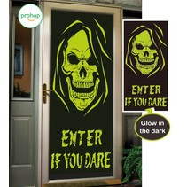 Halloween Deurposter Schedel Glow in the Dark 150x75cm