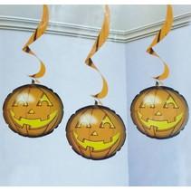 Halloween Hangdecoratie Opblaas Pompoen 3 stuks (NO8-5-1)