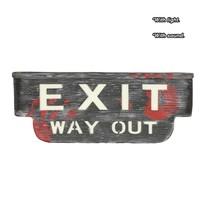 Halloween Wanddecoratie Exit Bord met licht en geluid 48x18cm