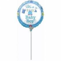 Geboorte Ballon Jongen 23cm op stokje