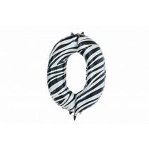 Folie Ballon Cijfer 0 Zebra XL 86cm leeg (D18-2-5)