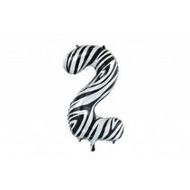 Folie Ballon Cijfer 2 Zebra XL 86cm leeg (D17-4-8)