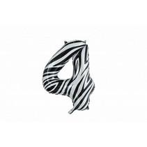Folie Ballon Cijfer 4 Zebra XL 86cm leeg