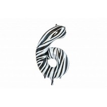 Folie Ballon Cijfer 6 Zebra XL 86cm leeg