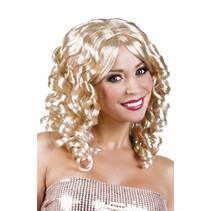 Pruik Half Lang Haar Krul Blond