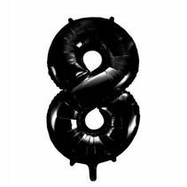 Folie Ballon Cijfer 8 Zwart XL 86cm leeg