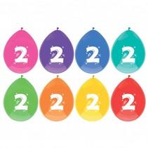 Ballonnen 2 Jaar Party 30cm 8 stuks (D18-8-6)