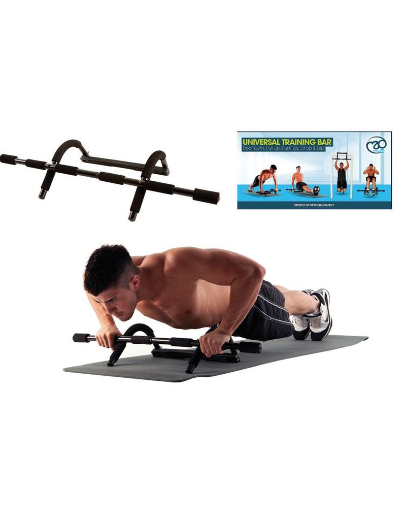 ... FITNESS MAD Universal Luxe Training Bar Multi Functionele Pull Push Up  Doorway Chinning Bar Zwart