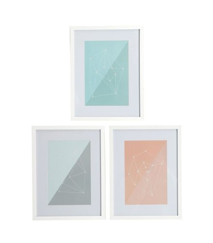 House Doctor Frame Molecules White / Pastel
