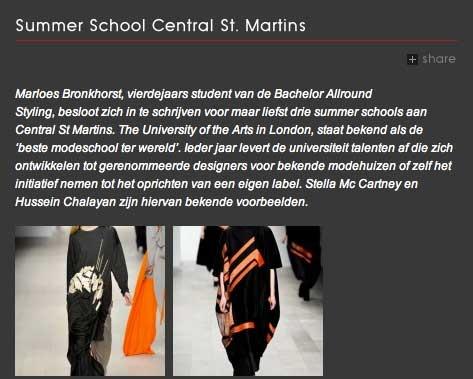 Publicatie op Acadamie Artemis over mijn summer school Central St. Martins in Londen